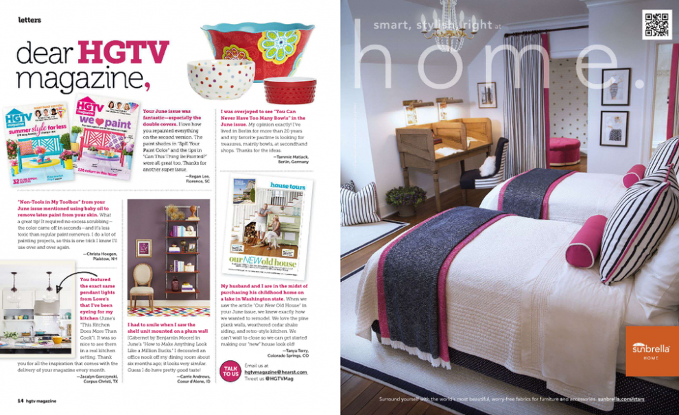 Sandler Design Group featured in Sunbrella Ad in HGTV Magazine