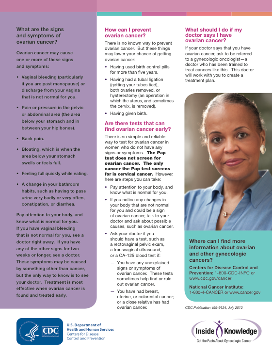 Ovarian Cancer Facts from the CDC