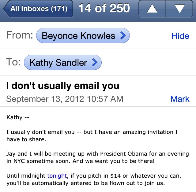 Emails from Beyonce, ©livethefinelife.com